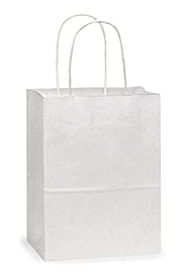 "Solid White Kraft Gift Bags - 5.25""x 3.5""x 8.25"" - Set of 25"