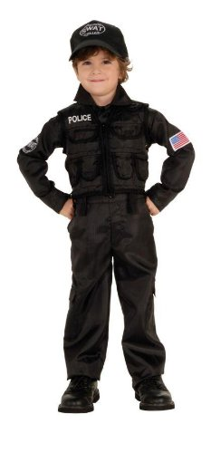 Kids SWAT Police Boys Cop Outfit Halloween Costume S Boys Small (3-4 years)
