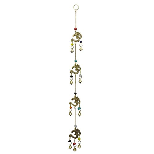 Religious Om Wall Hanging Gold Tone Brass Bell Door Décor Indian Home Decorative