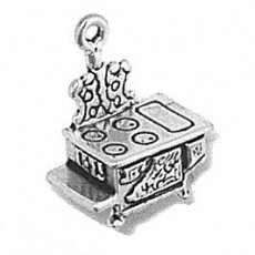 """Sterling Silver 18"""" .8Mm Wide Box Chain Necklace With 3D Small Old Vintage Cast Iron Stove Pendant"""