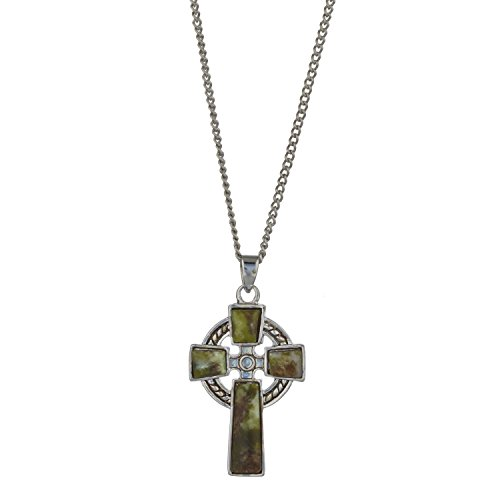 "Celtic Cross with Irish Connemara Green Marble Pendant Rhodium Plated Base Metal with 18"" Silver Chain"