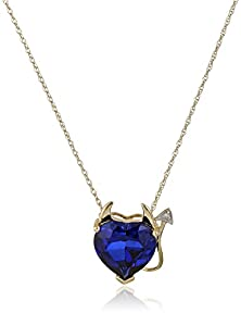 buy 14K Yellow Gold Created Sapphire Heart Devil Pendant Necklace With Diamond Accent, 18""