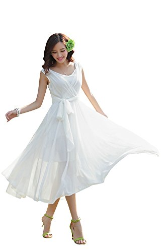 Ilishop Women's Sleeveless Pleated Prom Party Chiffon Hot Summer Long Dress White M