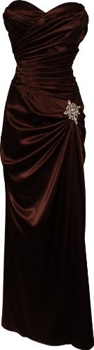 Strapless Long Satin Bandage Gown Bridesmaid Dress Prom Formal Crystal Pin, Medium, Brown