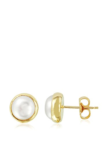 Fashion Strada 9mm Freshwater Mabe Pearl Stud Earrings