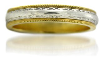 Platinum & 18k Yellow Gold Vintage Antique Style Wedding Band Ring