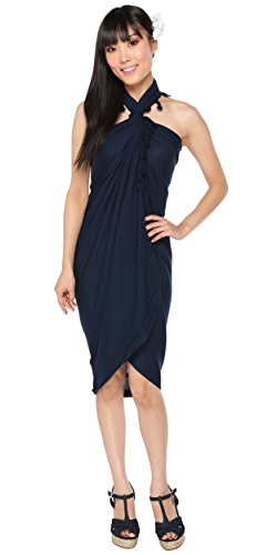 1 World Sarongs Womens Solid Swimsuit Cover-Up Sarong in Navy Blue