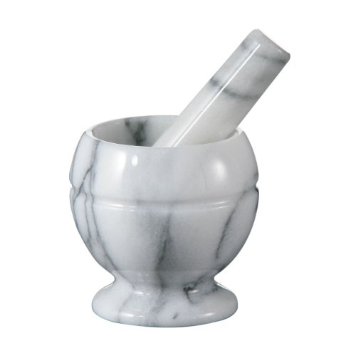 Small Size Mortar And Pestle Made Of White Marble Polished Finish