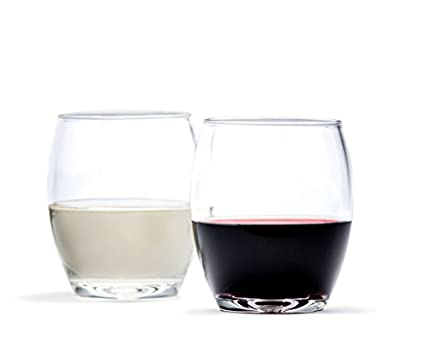 Cruvina Wine Glasses - Set of 4, 12 oz cups - Stemless, Shatterproof, Unbreakable, High Quality, Sturdy, Crystal Clear Plastic. Fantastic for Outdoor Bbqs, Parties and Dining.