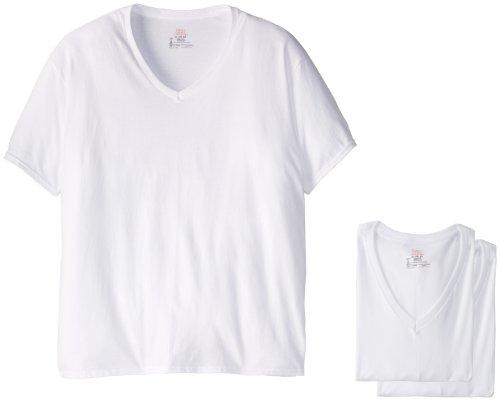 Hanes men 39 s 5 pack ultimate white v neck tee the men shirts for Hanes premium men s 6pk v neck t shirt white
