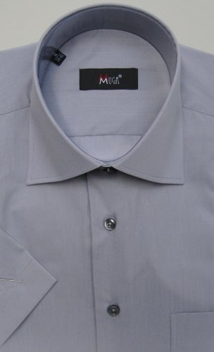 MUGA mens Shortsleeve shirts for Casual and Formal, Grey, Size L
