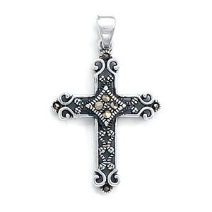 Antiqued Marcasite Design Cross Pendant Sterling Silver, 20-inch