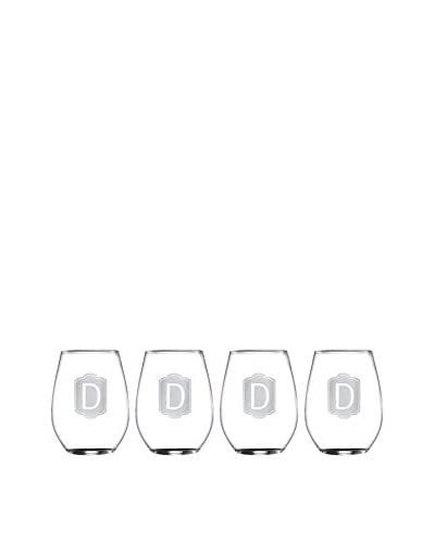 Jay Imports Set of 4 Monogram D Stemless Wine Glasses