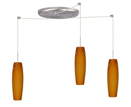 Besa Lighting 3Jw-489780B-W3-Sn Suzi Collection 3-Light Cfl Pendant, Satin Nickel Finish With Amber Matte Art Glass Shades And Satin Nickel Curved Wireform Cage B