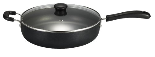 T-fal A9108274 Specialty Nonstick 5-Quart Jumbo Cooker with Glass Lid Fry Pan Dishwasher Safe Cookware, Black