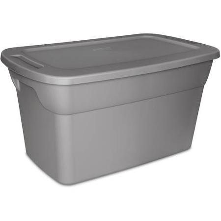Sterilite 30 Gallon Tote Plastic Storage Box- Steel with Lid, Case of 6 (Storage Totes 30 Gallon compare prices)