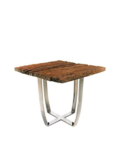 Decorative Leather Books Graham Railroad Side Table, Brown/Steel