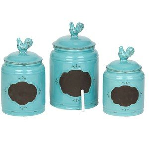 Set of 3 Durable Blue Chalkboard Rooster Canister Set with Tight Lids for Kitchen or Bathroom, Food Storage Containers, Ceramic,Aqua, 5