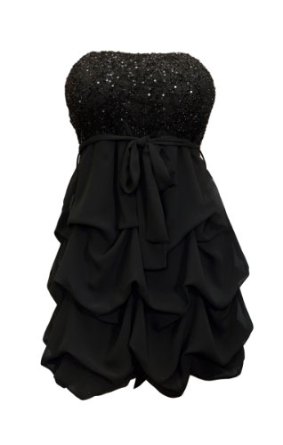 eVogues Plus Size Sequin Bodice Bubble Dress Black - 1X