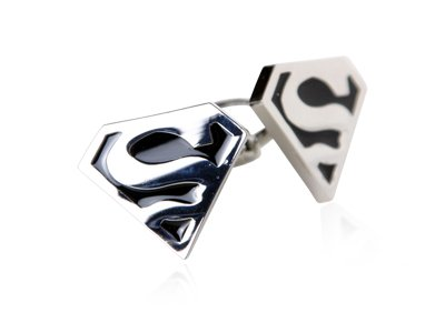 Black and Silver Cufflinks Rare Funny Superman Superhero with Presentation Box
