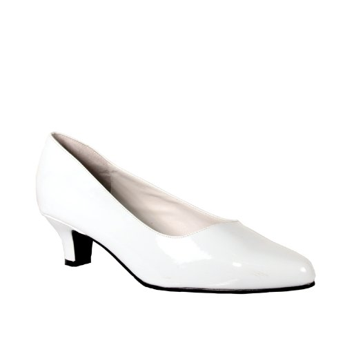 2 Inch Kitten Heel Pump Shoes White Patent Size: 15