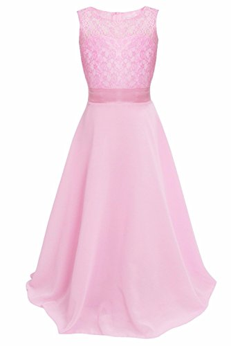 iEFiEL Big Girls Lace Chiffon Bridesmaid Dress Dance Ball Party Maxi Gown Pink 14