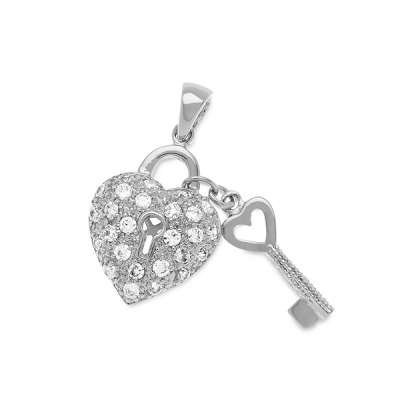 Fashion Necklace Jewelry Pendant Sterling Silver Heart Shaped Lock and A Small Key with Clear CZ's.(WoW !With Purchase Over $50 Receive A Marcrame Bracelet Free)