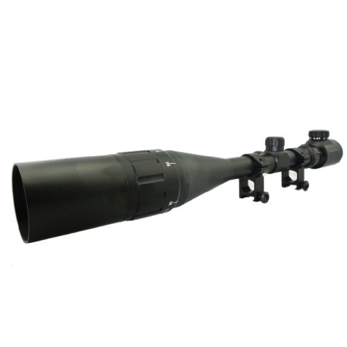 "NAVA 3"" Inch Sunshade AOEG 6-24X50 Red/Green Mil-Dot Tactical Sniper Rifle Scope With Rings"