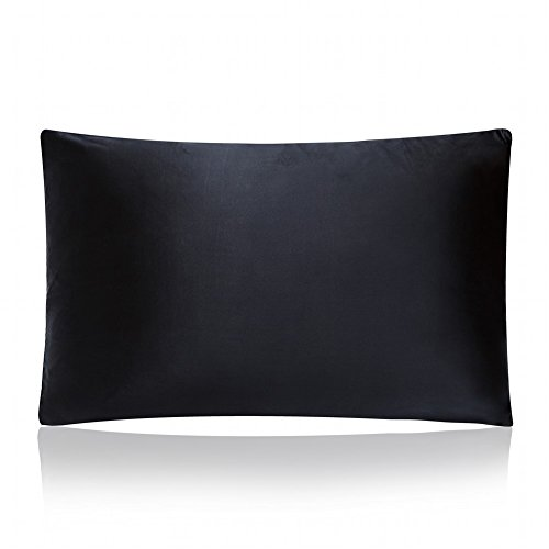 MEILIS Mulberry Silk Pillow Case ,Pillow Slip Covers with Invisible Zipper,Black Queen (Radiator Slip Cover compare prices)