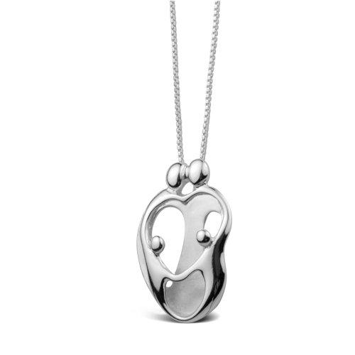 Sterling Silver Loving Family® Heart Necklace - Parents and 2 Children