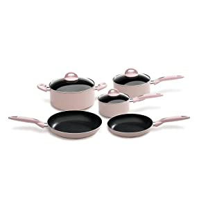 Bialetti 8-Piece Pink Cookware Set With Frying Pan