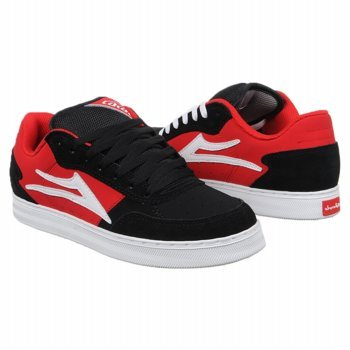 Lakai Men's MJ-5 Skate Shoe,Black/Red Suede,10.5 M US