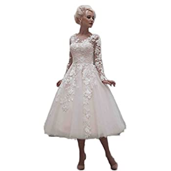 CoCoGirls Vintage Bridal Wedding Dresses Tea Length Applique Long Sleeve Gown