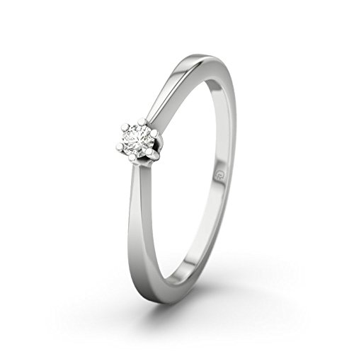 21DIAMONDS Women's Ring Seattle SI2 0.05 CT Brilliant Cut Diamond Engagement Ring, 9ct White Gold Engagement Ring