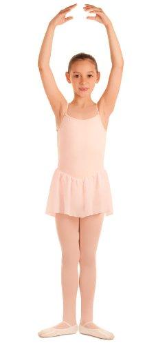 Kinder Ballettanzug, ROSA, Spaghettiträger, mit langem Voile-Röckchen