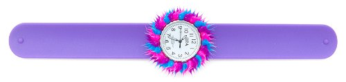 Spiky White Watch Cover With Purple Slap On Bracelet