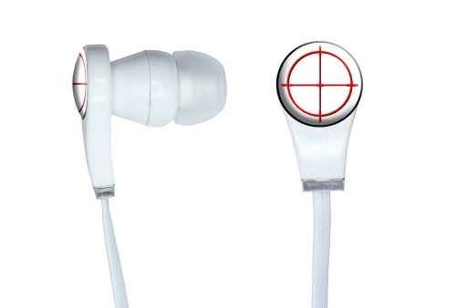 Graphics And More Sniper Scope Sight Target Novelty In-Ear Headphones Earbuds - Non-Retail Packaging - White