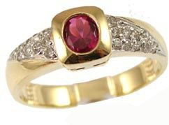 14k Yellow Gold White Rhodium, Modern Design Ring with Lab Created Oval Shape Red Colored Stone