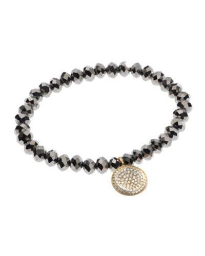 Michael Kors Mkj2092 Women'S Golden Faceted Pave Charm Bracelet Jewelry