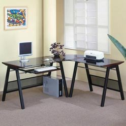 Buy Low Price Comfortable Stirling L Shape Computer Desk with Keyboard Tray by Coaster (B0051PEA50)