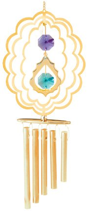 24K Gold Plated Wind Chime Sun Catcher or Ornament..... Delux Icon in Oval With Green Swarovski Austrian Crystal