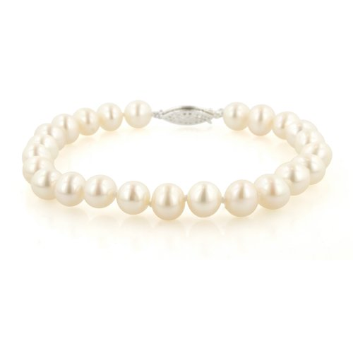 Sterling Silver White Freshwater Cultured Pearl A Grade 7.5-8mm Bracelet, 7.25