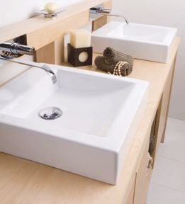 "Lacava Stone countertop for double vanity 5790 with two cut-outs for lavatory 5055-42C, 70 7/8""W, 23 5/8""D, 3/4""H. Bianco Oce"