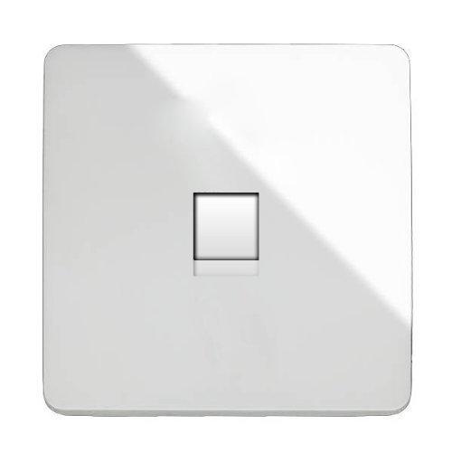 Trendi Bouton d'interrupteur moderne artistique Brillant Prise de téléphone blanc