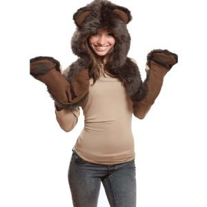 Brown Bear Full Animal Hood Hoddie Hat Faux Fur 3 In 1 Function