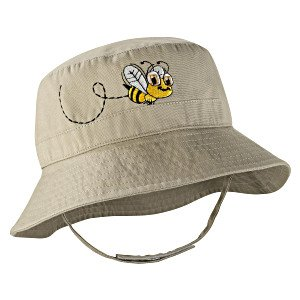Coolibar UPF 50+ Infant Embroidered Sun Hat (Tan/Bee - One Size (6-24M))