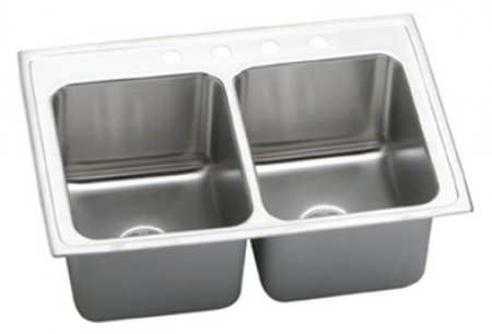 "Elkay DLRQ3322120 18 Gauge Stainless Steel Double Bowl Top Mount Kitchen Sink, 33"" x 22"" x 12.125"""