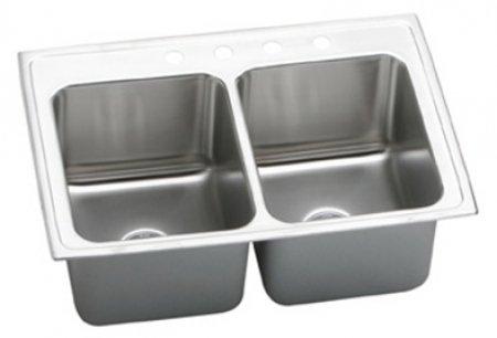 "Elkay DLRQ3322120 18 Gauge Stainless Steel Double Bowl Top Mount Kitchen Sink, 33"" x 22"" x 12.125"""