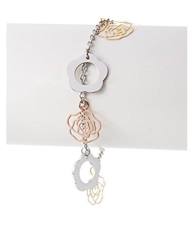 Chloe by Liv Oliver Tri-Color Rose & Clover Charm Bracelet As You See