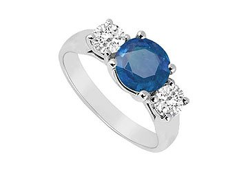 Sterling Silver Blue Sapphire and Cubic Zirconia Three Stone Ring 1.25 CT TGW MADE IN USA